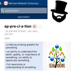 Appreciation Definition Sean Knows